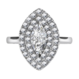 Image for Double Halo Marquise Diamond Engagement Ring