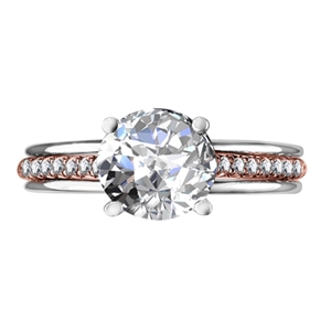 18ct Rose & White Gold Shoulder Set Diamond Rings