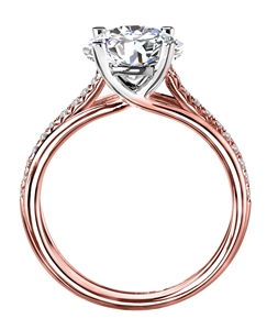 18ct Rose & White Gold Shoulder Set Engagement Rings