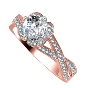 Image for Round Diamond Single Halo Infinity Style Ring