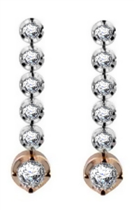 18ct Rose & White Gold Designer Round Diamond Earrings