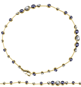 Image for Elegant Diamond & Blue Sapphire Tennis Bracelet