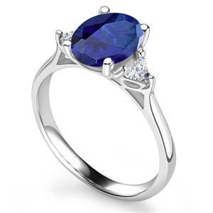 Image for Blue Sapphire Oval & Trillian Diamond Trilogy Ring