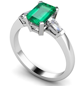 Image for Emerald & Baguette Diamond Trilogy Ring