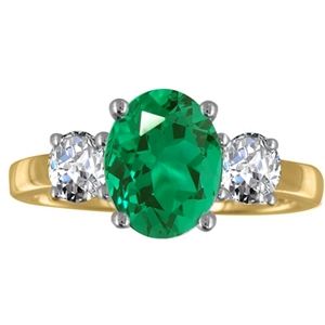 Image for Oval Emerald & Diamond Trilogy Ring
