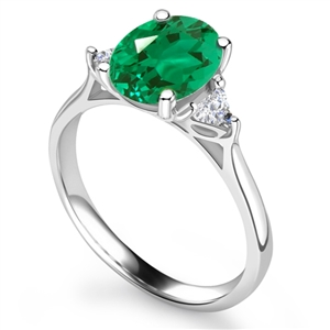 Image for Elegant Emerald Diamond Trilogy Ring
