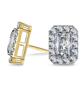 18ct Yellow Gold Radiant Diamond Earrings