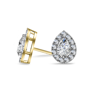 18ct Yellow Gold Pear Shaped Diamond Earrings