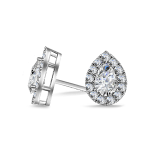 18ct White Gold Pear Shaped Diamond Earrings