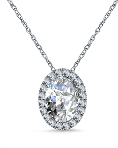 Oval Cut Halo Diamond Pendants