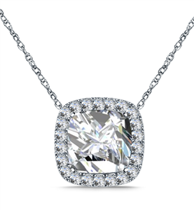 Cushion Shape Halo Pendant Diamond Pendants