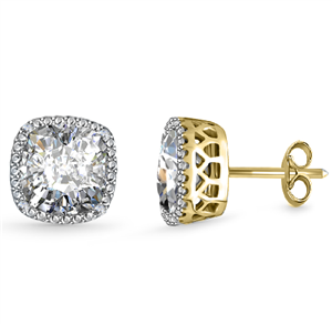 18ct Yellow Gold Cushion Cut Diamond Earrings