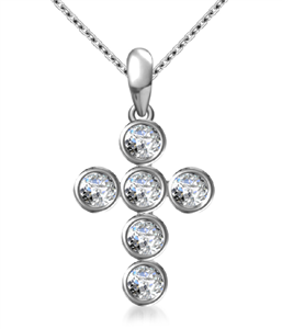 Image for Modern Round Diamond Cross Pendant