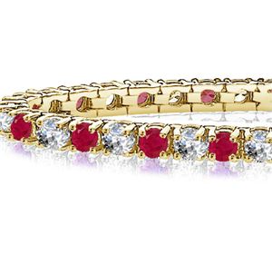Image for Classic Single Row Ruby and Diamond Tennis Bracelet