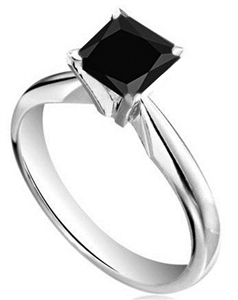 18ct White Gold Princess Cut Black Diamond Engagement Rings