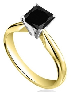 18ct Yellow Gold Princess Cut Black Diamond Engagement Rings