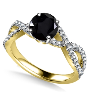 18ct Yellow Gold Shoulder Set Black Diamond Rings