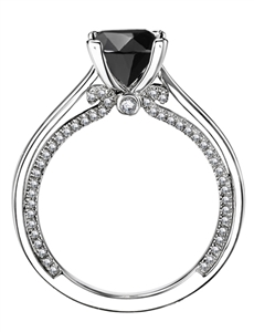 Princess Cut Shoulder Set Black Diamond Rings