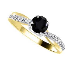 18ct Yellow Gold Round Black Diamond Engagement Rings