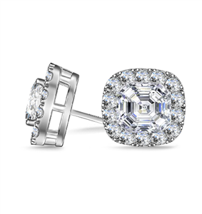 Asscher Cut Halo Earrings Earrings