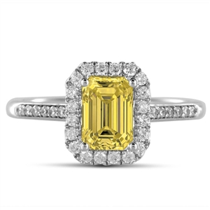 Emerald Yellow Diamond Engagement Rings