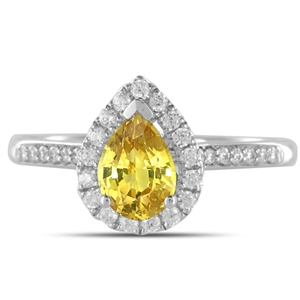 18ct White Gold Pear Diamond Engagement Ring