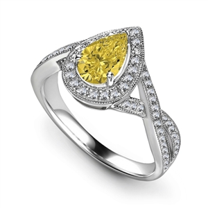 Pear Yellow Diamond Engagement Rings
