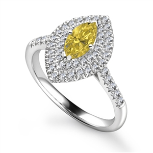 Image for Fancy Yellow Marquise Diamond Double Halo Shoulder Set Ring