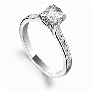 Image for Cushion Diamond Shoulder Set Engagement Ring