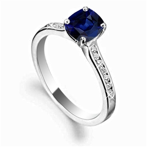 Image for Cushion Blue Sapphire & Diamond Shoulder Set Ring