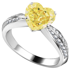 Image for Yellow Heart Shaped Diamond Shoulder Set Ring