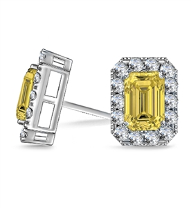 Image for Fancy Yellow Emerald Diamond Halo Earrings