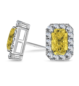 Image for Fancy Yellow Radiant Diamond Halo Earrings