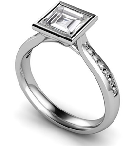 Image for Asscher Diamond Shoulder Set Ring