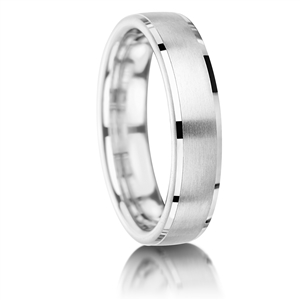 Image for 5mm Court Shape Brushed Finish Wedding Band