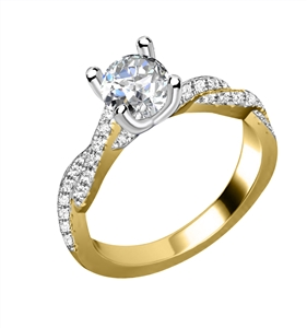 Image for Infinity Twist Round Diamond Vintage Engagement Ring