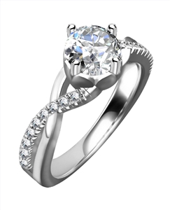 Image for Infinity Twist Round Diamond Engagement Ring