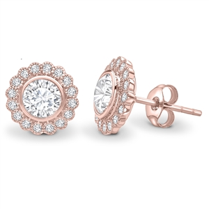 Image for Round Diamond Single Halo Milgrain Earrings