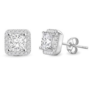 Image for Princess Diamond Single Halo Earrings