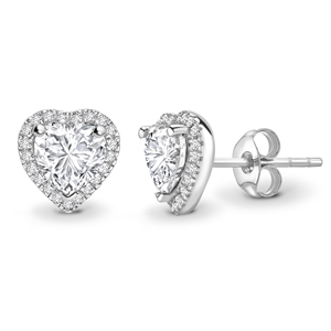 18ct White Gold Heart Shaped Diamond Earrings