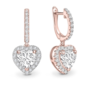 18ct Rose Gold Heart Shaped Diamond Earrings