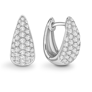 Image for Clustered Round Diamond Hoop Earrings
