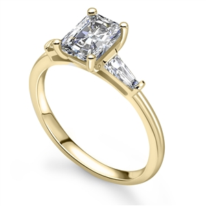 18ct Yellow Gold Radiant Cut Diamond Trilogy Engagement Rings