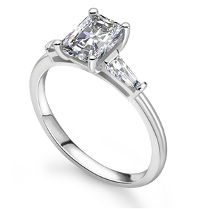 Palladium Radiant Cut Diamond Trilogy Engagement Rings