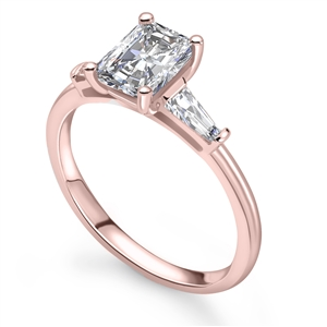 18ct Rose Gold Radiant Cut Diamond Trilogy Engagement Rings