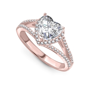 18ct Rose Gold Heart Diamond Engagement Rings