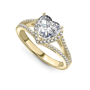 18ct Yellow Gold Heart Shaped Diamond Halo Engagement Rings