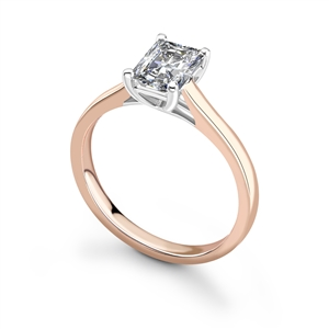18ct Rose Gold Radiant Cut Diamond Solitaire Engagement Rings