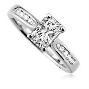 Radiant Shoulder Set Diamond Engagement Rings