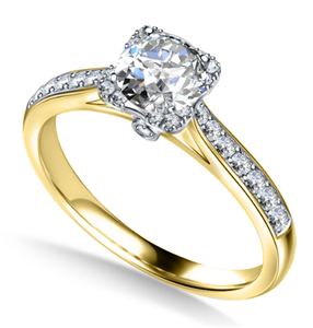 Image for Modern Round Diamond Single Square Halo Ring